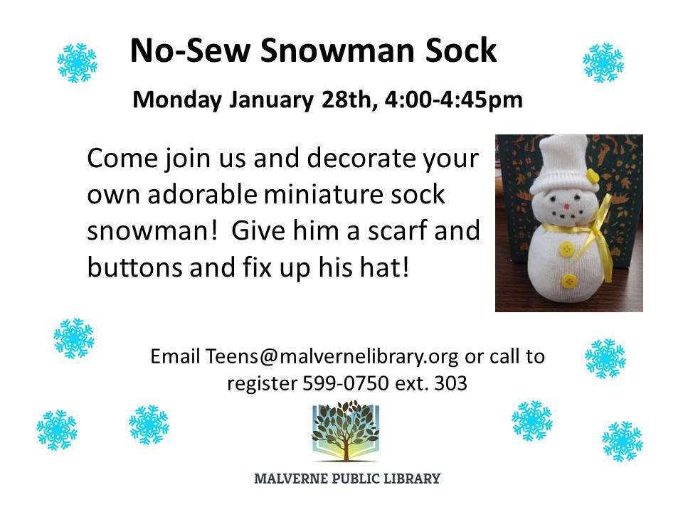 No-sew snowman sock
